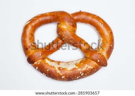 pretzel on white for oktobberfest - stock photo