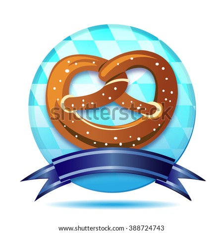 Pretzel with edelweiss on white background - stock photo