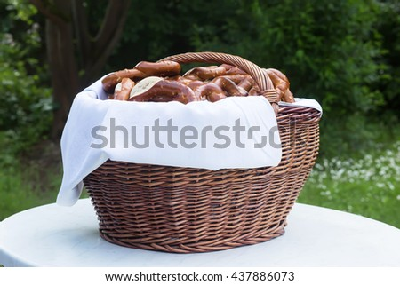 Pretzels on table - for your wedding champagne drink. Typical german tradition. Natural light. Selective focus.  - stock photo