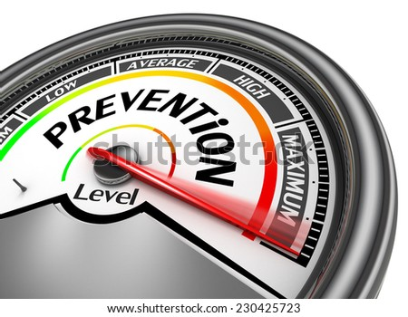 prevention health conceptual meter indicate maximum, isolated on white background - stock photo