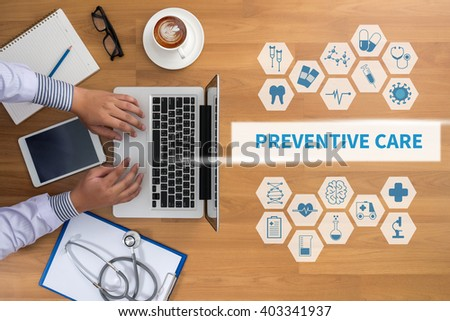 PREVENTIVE CARE  Professional doctor use computer and medical equipment all around, desktop top view, coffee - stock photo