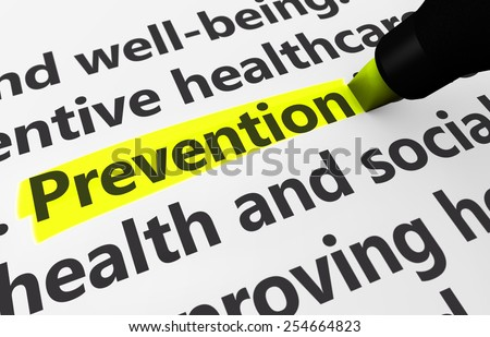 Preventive healthcare concept with a 3d rendering of medical related words and prevention text highlighted with a yellow marker. - stock photo