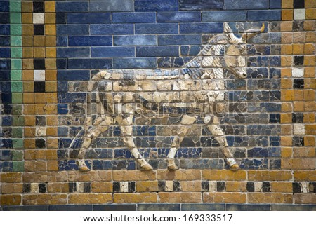 Preview animals on the Ishtar Gate - stock photo