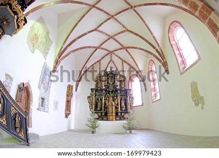 PRIBYLINA, SLOVAKIA - JANUARY 4: Interior of  historical church at Pribylina on January 4, 2014 in Pribylina - stock photo