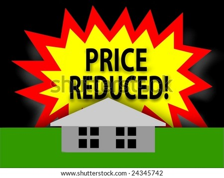 Price Reduced tag and a house - stock photo