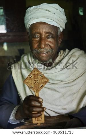 Priest of the Debra Mariam Monastery - Lake Tana, Ethiopia, Sep.11, 2012 - stock photo