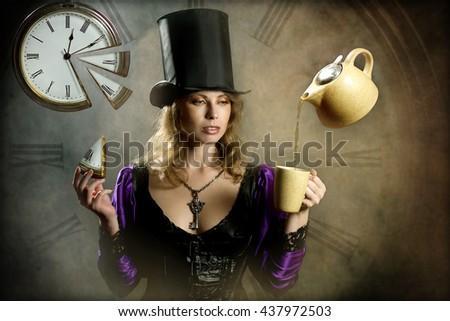 Priestess of time - stock photo