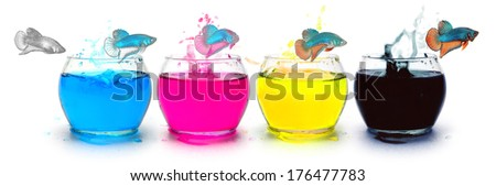 Primary colors CMYK, ink for print publishing. - stock photo
