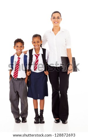 primary school teacher and students full length portrait on white - stock photo