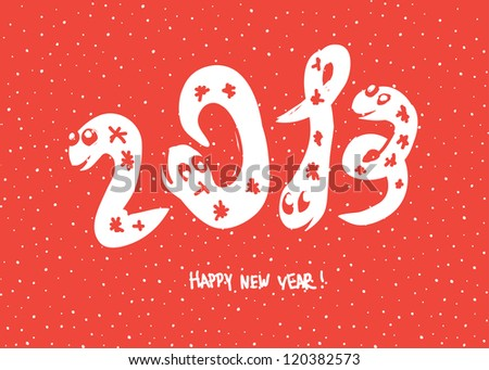 """Primitive doodle drawings of 2013 """"snake"""" year. Raster version, vector file available in portfolio. - stock photo"""
