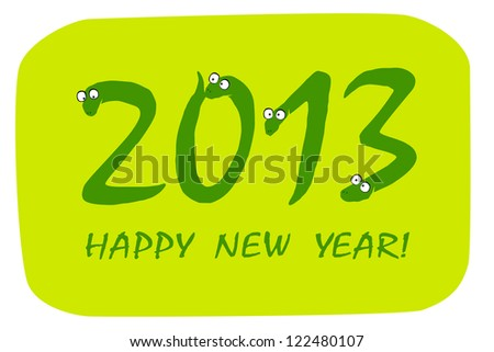 "Primitive doodle drawings of 2013 ""snake"" year. Raster version, vector file available in portfolio. - stock photo"