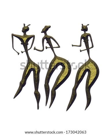 Primitive figures of women - primitive art - statuettes - stock photo