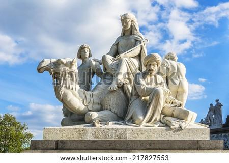Prince Albert Memorial - Iconic, Gothic Memorial to Prince Albert from Queen Victoria. Memorial near Kensington Gardens in London was constructed in 1876. - stock photo