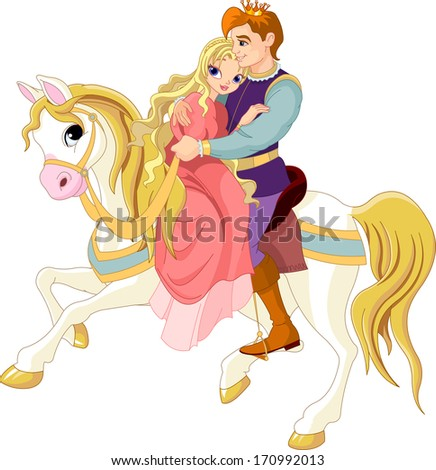 Prince and princess  on white horse. Raster version - stock photo