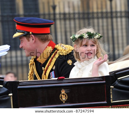 Prince Harry & Lady Louise Windsor leaving Westminster Abbey following the royal wedding of Prince William & Kate Middleton. April 29, 2011  London, UK Picture: Paul Smith / Featureflash - stock photo