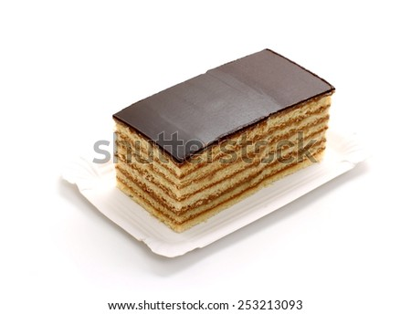 Prince Regent cake, thin layers of biscuit with chocolate, isolated, top view - stock photo