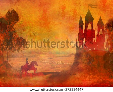Prince riding a horse to the castle  - stock photo