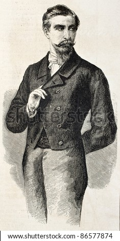 Prince San Cataldo old engraved portrait, Garibaldi representative in France. After photo of Pesme and Varin, published on L'Illustration, Journal Universel, Paris, 1860 - stock photo
