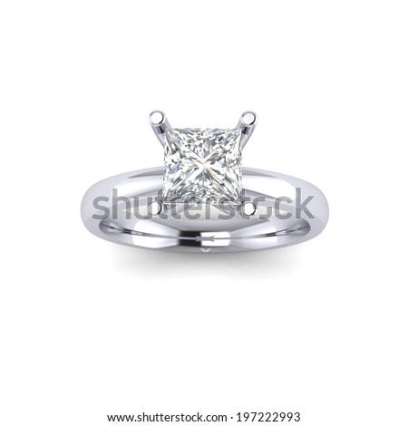 Princess Diamond ring  - stock photo