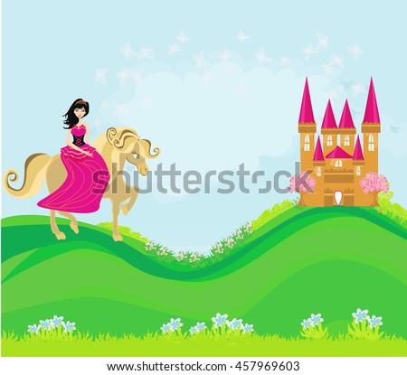 princess riding a horse into the castle - stock photo