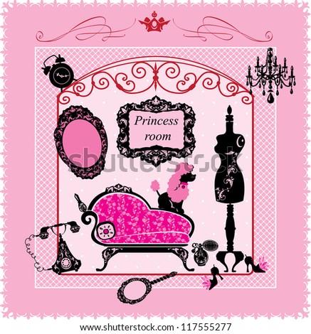Princess Room - illustration for girls. Raster version - stock photo