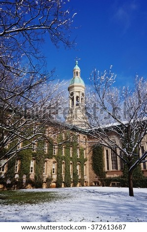 PRINCETON, NJ -4 FEBRUARY 2016- The campus of Ivy League Princeton University under snow in winter. The private research university has been ranked number one undergraduate college in 2014. - stock photo