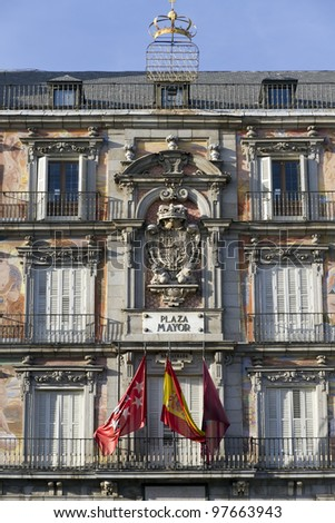 Principal building in Plaza Mayor, the most important square in Madrid - stock photo