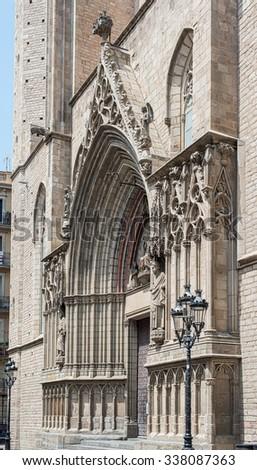 Principal facade of the Basilica de Santa Maria del Mar. This church is one of the most representative Catalan Gothic style architecture located in the Ribera district. Barcelona, Catalonia, Spain. - stock photo