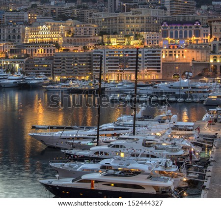 Principality of Monaco, a sovereign city state, located on the French Riviera. It is the most densely populated country in the world - stock photo
