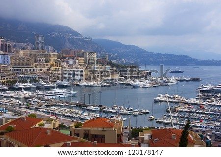 Principality of Monaco. View of port and houses - stock photo
