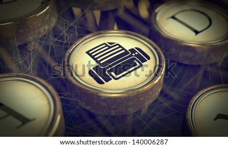 Print Button on Old Typewriter. Grunge Background for Your Publications. - stock photo