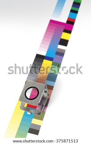 Print control loupe and color patch pattern - stock photo