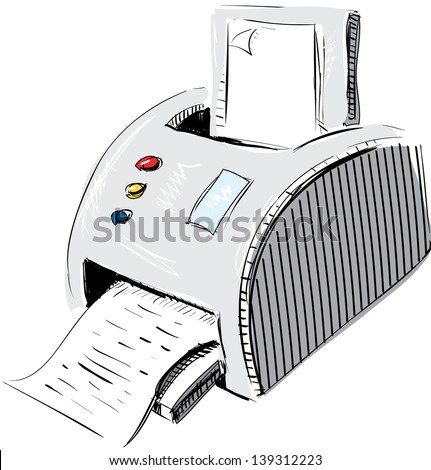 Print device sketch cartoon illustration - stock photo