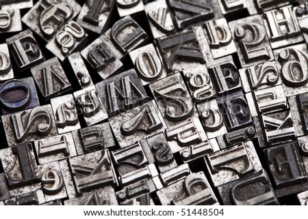 Print, fond, letters - stock photo