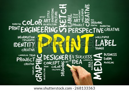 PRINT word cloud concept - stock photo
