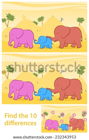 Printable game for preschool children meant to stimulate attention through funny learning as the task to find the differences between two illustrations of a cute family of elephants - stock photo