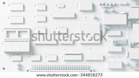 Printed Circuit Board; abstract background image of printed circuit board, white, pale tones suitable for overprinting - stock photo