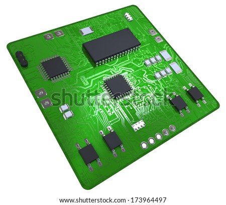 Printed circuit board populated with some components - stock photo