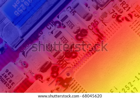 Printed circuit board with light reflections - stock photo