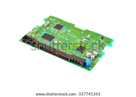 Printed computer circuit board from DVD drive - stock photo