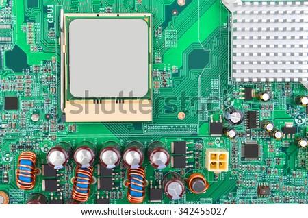Printed computer motherboard, CPU socket, close up - stock photo