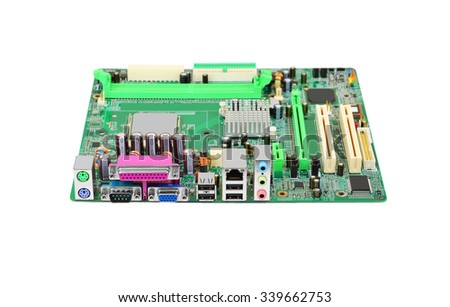 Printed computer motherboard, isolated on white background - stock photo