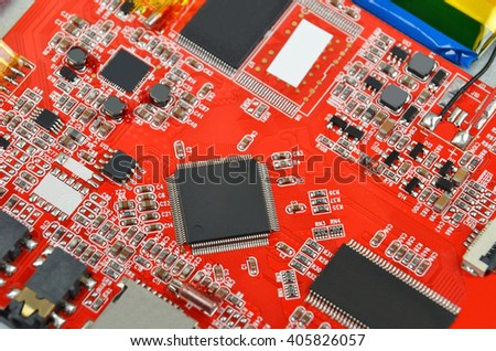 Printed computer motherboard with microcircuit, close up - stock photo