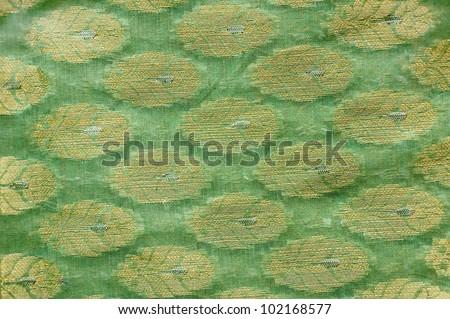 Printed Indian silk fabric - stock photo