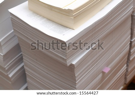 printed paper in printing factory - stock photo