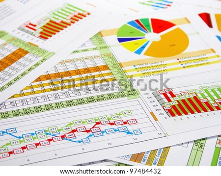 Printed Report in Charts, Graphs and Diagrams - stock photo