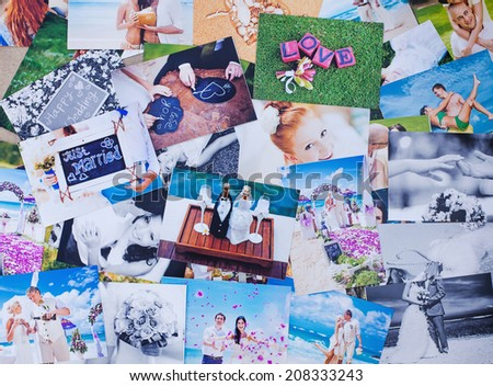 Printed wedding photos - stock photo