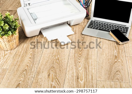 Printer and computer. Office table - stock photo