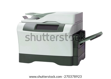 Printer and paper isolated on white - stock photo
