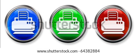 Printer / Fax 3-D RGB Buttons - stock photo